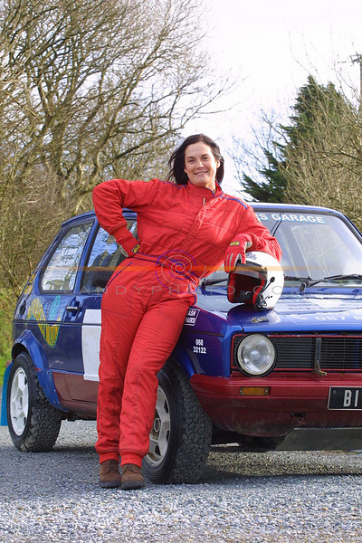 Mary B Barrett of Meenahela Abbeyfeale with her 1600 Autocross VW Golf which she has won the Ladies Munster Autocross Championship with with the sponsorship of Garage man P J O Connor of Boola Broadford.<br /> Pic Brendan LAndy