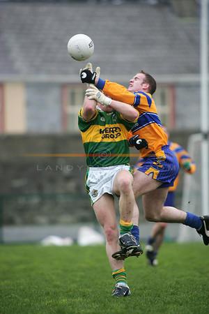 Kerrys paddy kelly takes a hard knock as he tries to gather a ball. Photo Brendan Landy
