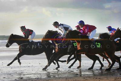 Jockeys at work in the 14.2 pony race at the annual BAllyheigue races  on Sunday. Photo Brendan Landy