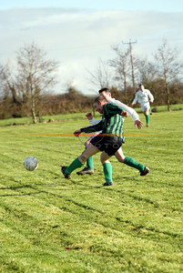 Lisselton Rovers Eoin O Mahoney and Rattoo Rovers Bobby O Sullivan fighting over the ball during the Premier A match at Ballyloughran. Photo by Manuela Dei Grandi/Landy Photo