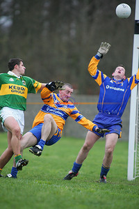 Almost a goal for kerry as the clare keeper make a dramatic  save. Photo Brendan Landy