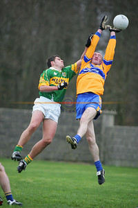 Action in the air between Kerry and Clare in Listowel. Photo Brendan Landy