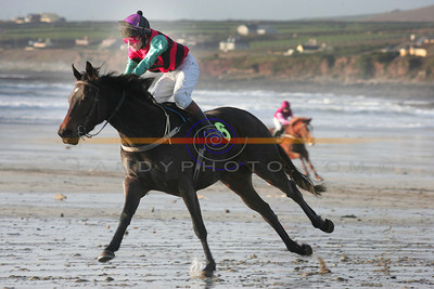 PAul Townstead on Mini Me  goes on to win the 14.2 pony race in Ballyheigue. Photo Brendan Landy