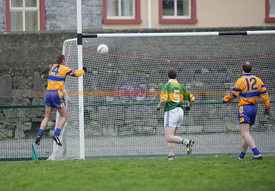Clares no 14 taps the ball into the net for their first Goal. Photo Brendan Landy