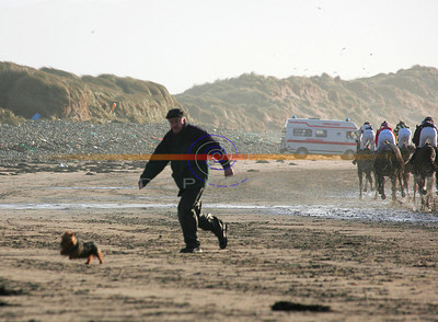 PA  opperator Donal O Sullivan  tries to catch the stray dog that was hampering racing in Ballyheigue  on the beach. Photo Brendan Landy