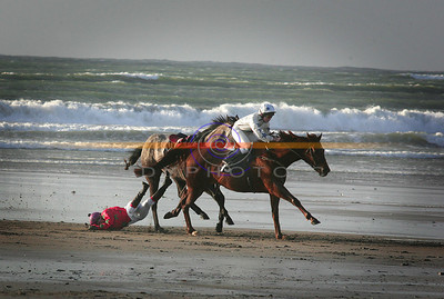 """THe risks of racing.... Young Debbie Mangan from Connagh in Cork gets her to tangle up in the stirups of """" Mind the bends"""" in the mile and a quarter race and is draged along untill finaly comming free, at Ballyheigue races. Photo Brendan Landy"""