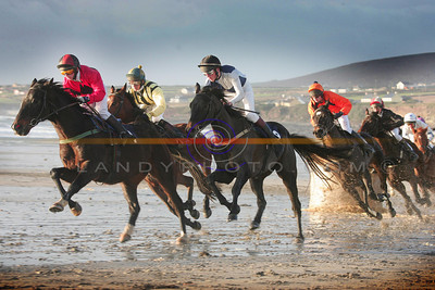 Action from the  Mile and a quarter race  at ballyheigue that was won by  Power ranger. Photo Brendan Landy