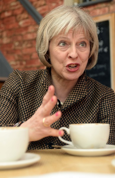 Theresa May MP stops for a coffee in Bedford on the election trail 2015.