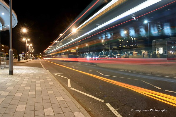 Night light trails. Luton