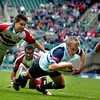 Blues full back Mark Harris  scores Bedfords only try in their Powergen Shield victory at Twickenham.
