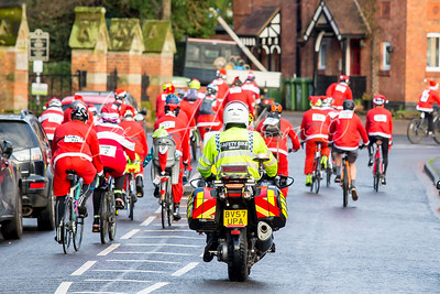 Santa Cycle Ride for Kemp Hospice, Kidderminster, UK