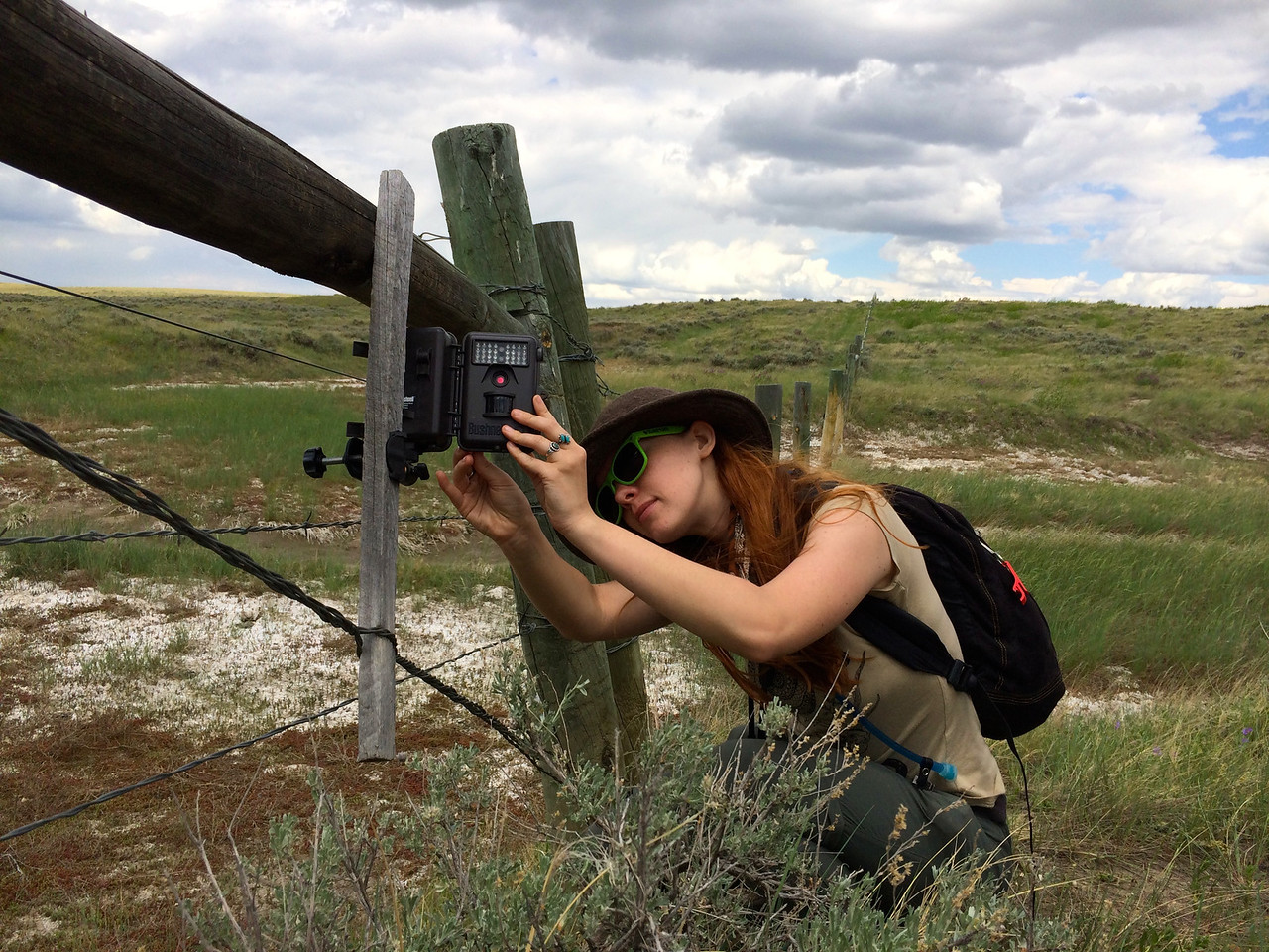 Rachel Herring checking a camera trap