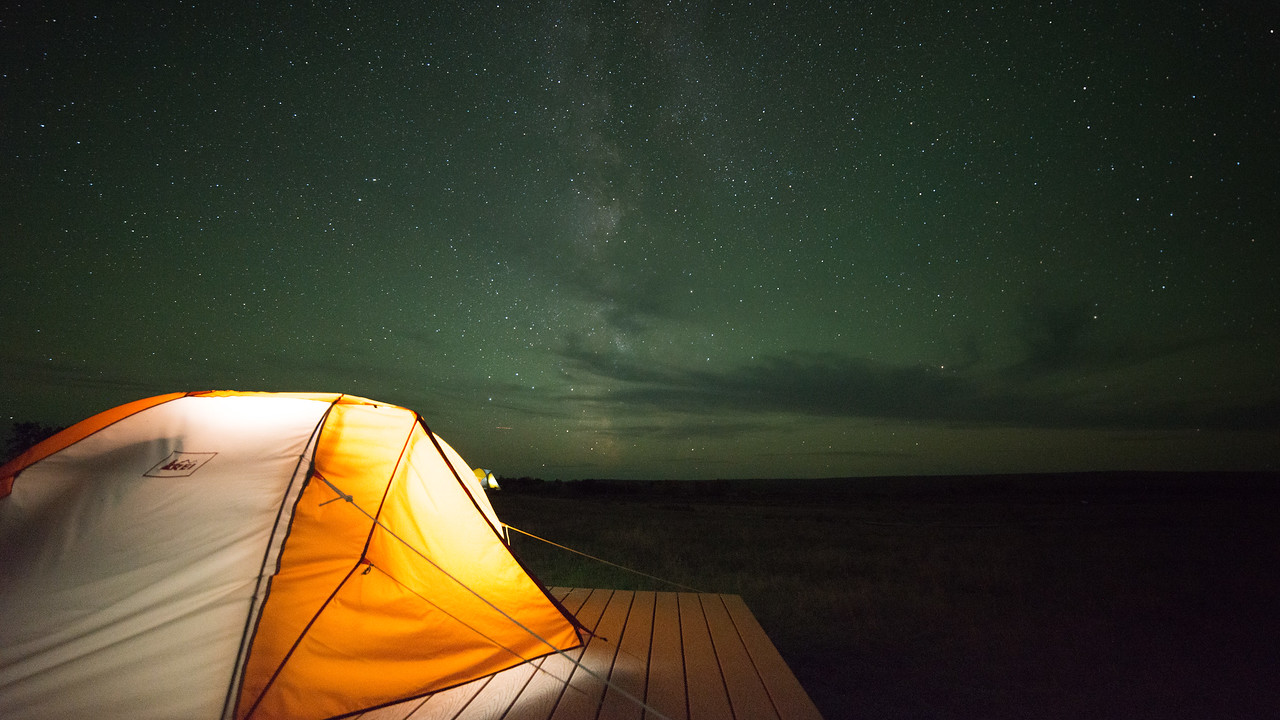 Nighttime over ASC's Landmark field camp on the American Prairie Reserve. PHOTO BY MORGAN CARDIFF