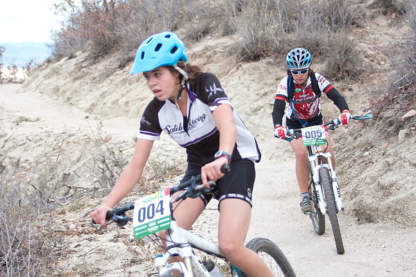 Varisty riders Sage Kitson, Salida Racing and Arianna Dittmer, Golden battle for 2nd and 3rd place. Photo Carrie Dittmer.