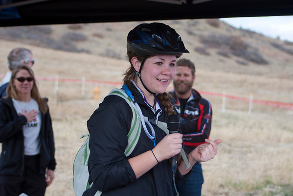 The race day started with Annie Deleveney, from Salida, singing the National Anthem! Photo Carrie Dittmer