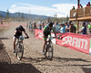 JV riders Connor McCormick, Front Range Christian and Luc Freiburg, Fort Collins Composite battle to the finish.  Photo by Carrie Dittmer.