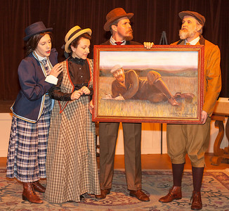 Suki Peters as Charlotte Payne-Townshend, Nancy Nigh as Beatrice Webb and Jeff Kargus as Sidney Webb, Matt Hanify as George Bernard Shaw