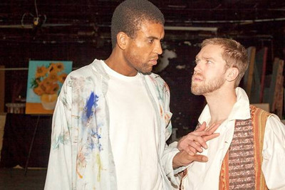 Patrick Stone (played by Reginald Pierre, L), a contemporary avant-garde painter, and Vincent van Gogh (Jake Ferree, R) confront each other across a century of time and a world of artistic differences -- each fearing that the other may be no more than a hint of impending madness.  The scene is from the West End Players Guild's production of Steven Dietz's Inventing van Gogh, a St. Louis premiere to be performed October 5-14 in the theatre at Union Avenue Christian Church.  (Photo by John Lamb)