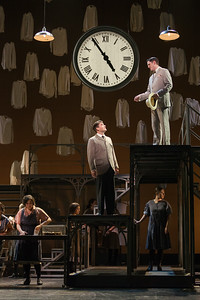 """Christian Bowers as Clyde Griffiths (center) and Daniel T. Curran as Gilbert Griffiths (upper right) in The Glimmerglass Festival's new production of Tobias Picker's """"An American Tragedy."""" Photo: Karli Cadel/The Glimmerglass Festival."""