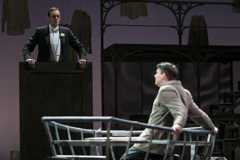 "Matthew Scollin as Judge and Christian Bowers as Clyde Griffiths in The Glimmerglass Festival's new production of Tobias Picker's ""An American Tragedy."" Photo: Karli Cadel/The Glimmerglass Festival."