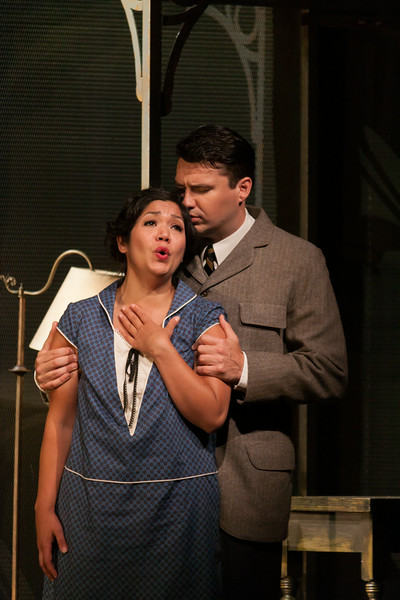 "Vanessa Isiguen as Roberta Alden and Christian Bowers as Clyde Griffiths in The Glimmerglass Festival's new production of Tobias Picker's ""An American Tragedy. Photo: Jessica Kray/The Glimmerglass Festival."