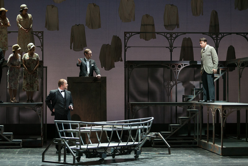 """L to R: Thomas Richards as Orville Mason, Matthew Scollin as Judge and Christian Bowers as Clyde Griffiths in The Glimmerglass Festival's new production of Tobias Picker's """"An American Tragedy."""" Photo: Karli Cadel/The Glimmerglass Festival."""