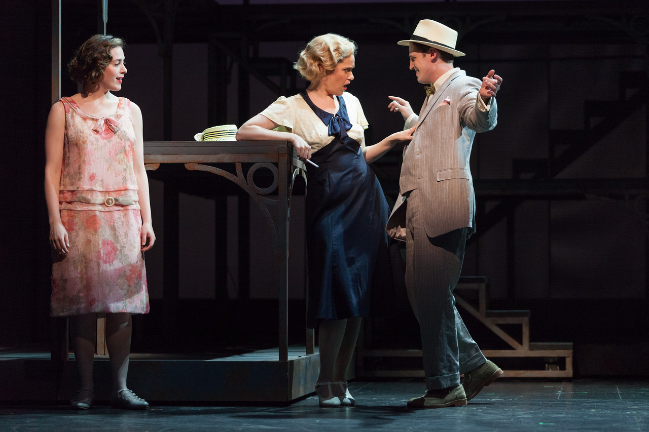 """L to R: Meredith Lustig as Bella Griffiths, Cynthia Cook as Sondra Finchley and Daniel T. Curran as Gilbert Griffiths in The Glimmerglass Festival's new production of Tobias Picker's """"An American Tragedy."""" Photo: Karli Cadel/The Glimmerglass Festival."""