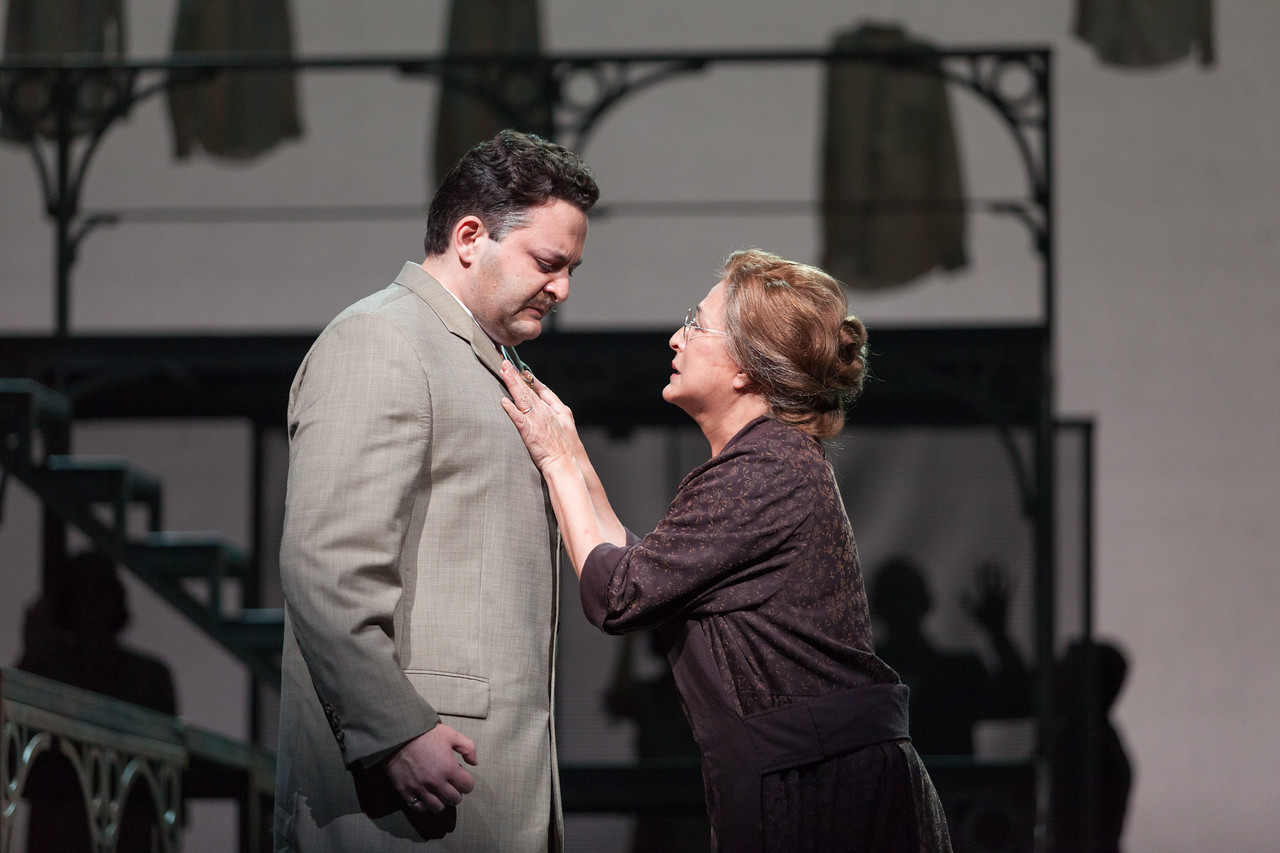 """Aleksey Bogdanov as Samuel Griffiths and Patricia Schuman as Elvira Griffiths in The Glimmerglass Festival's new production of Tobias Picker's """"An American Tragedy."""" Photo: Karli Cadel/The Glimmerglass Festival."""