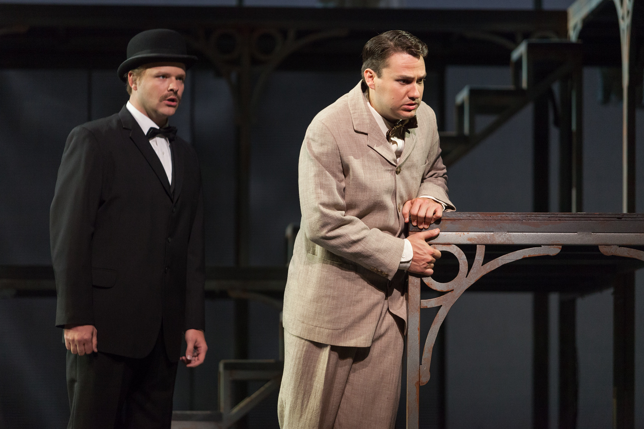 "L to R: Thomas Richards as Orville Mason and Christian Bowers as Clyde Griffiths in The Glimmerglass Festival's new production of Tobias Picker's ""An American Tragedy."" Photo: Karli Cadel/The Glimmerglass Festival."
