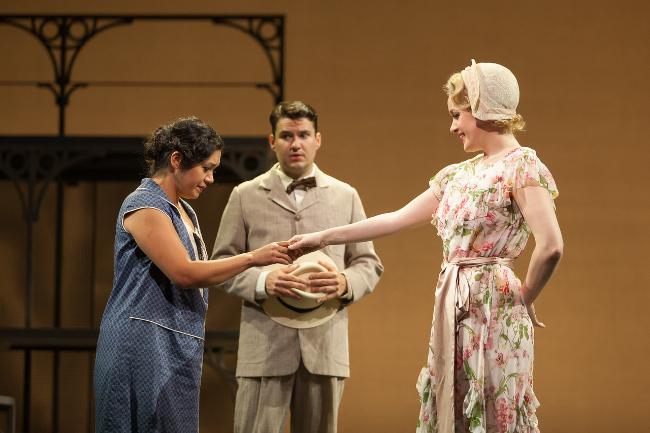 "L to R: Vanessa Isiguen as Roberta Alden, Christian Bowers as Clyde Griffiths and Cynthia Cook as Sondra Finchley in The Glimmerglass Festival's new production of Tobias Picker's ""An American Tragedy."" Photo: Jessica Kray/The Glimmerglass Festival."