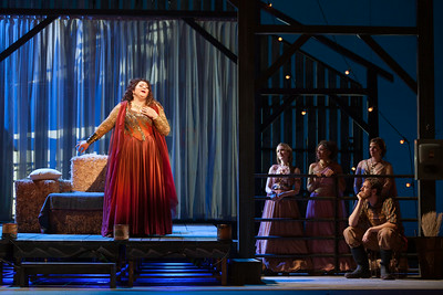 "L to R: Christine Goerke as Ariadne, Jeni Houser as Naiad, Jacqueline Echols as Echo, Beth Lytwynec as Dryad and Matthew Scollin as Farmhand in The Glimmerglass Festival's 2014 production of Strauss' ""Ariadne in Naxos."" Photo: Karli Cadel/The Glimmerglass Festival."