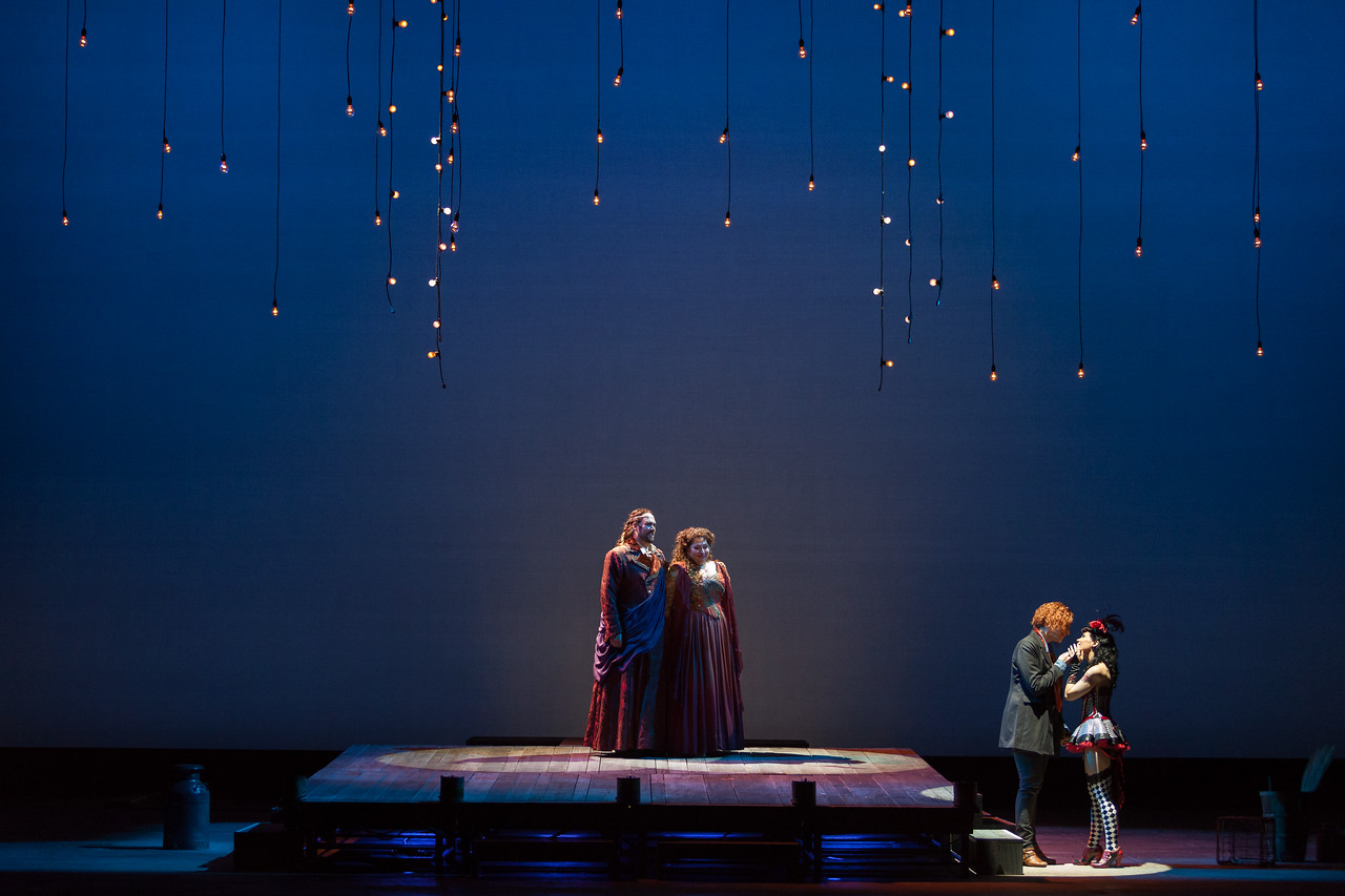 "Corey Bix as Bacchus, Christine Goerke as Ariadne, Catherine Martin as Composer and Rachele Gilmore as Zerbinetta in The Glimmerglass Festival's 2014 production of Strauss' ""Ariadne in Naxos."" Photo: Karli Cadel/The Glimmerglass Festival."