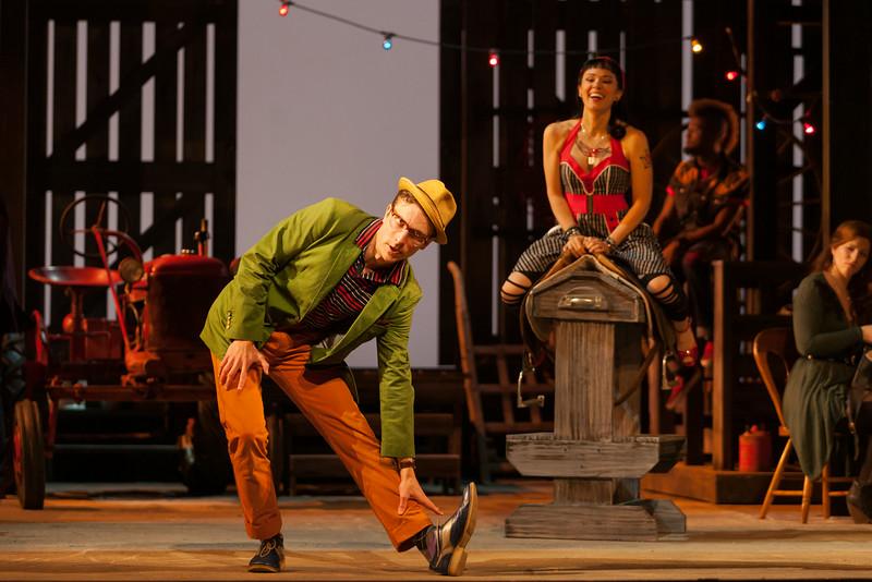 "John Kapusta as Dance Captain and Rachele Gilmore as Zerbinetta in The Glimmerglass Festival's 2014 production of Strauss' ""Ariadne in Naxos."" Photo: Karli Cadel/The Glimmerglass Festival."