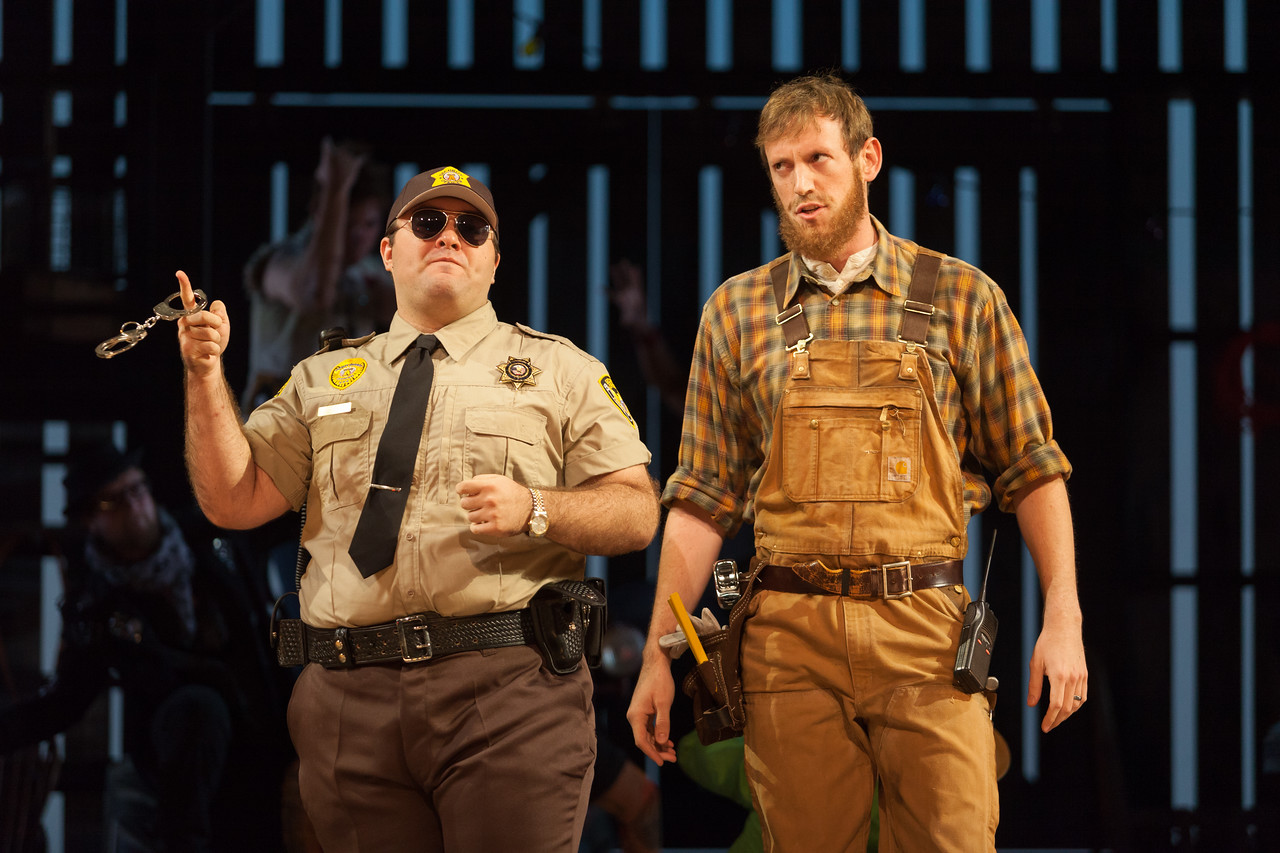 "Cooper Nolan as Officer and Matthew Scollin as Farmhand in The Glimmerglass Festival's 2014 production of Strauss' ""Ariadne in Naxos."" Photo: Karli Cadel/The Glimmerglass Festival."