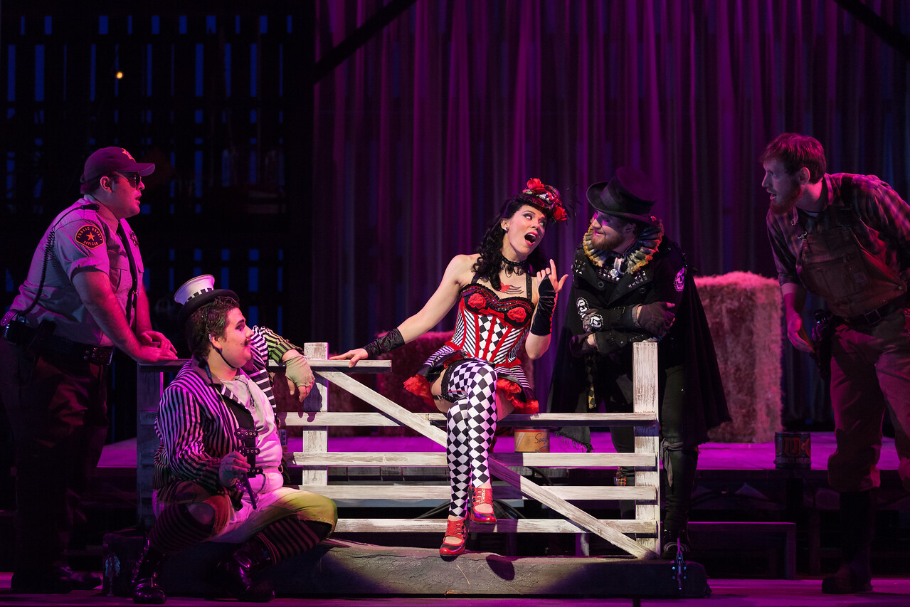 """L to R: Cooper Nolan as Officer, Brian Ross Yeakley as Brighella, Rachele Gilmore as Zerbinetta, Andrew Penning as Scaramuccio and Matthew Scollin as Farmhand in The Glimmerglass Festival's 2014 production of Strauss' """"Ariadne in Naxos."""" Photo: Karli Cadel/The Glimmerglass Festival."""