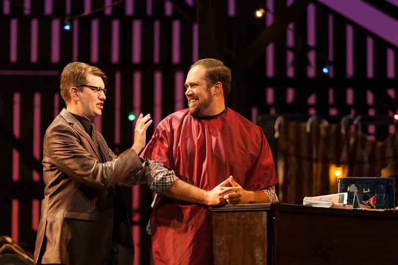 "Adam Cioffari as Agent and Corey Bix as Tenor in The Glimmerglass Festival's 2014 production of Strauss' ""Ariadne in Naxos."" Photo: Karli Cadel/The Glimmerglass Festival."