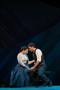 "Andrea Carroll as Julie Jordan and Ryan McKinny as Billy Bigelow in The Glimmerglass Festival's 2014 production of Rodgers and Hammerstein's ""Carousel."" Photo: Jessica Kray/The Glimmerglass Festival."