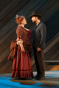 "Rebecca Finnegan as Mrs. Mullin and Ryan McKinny as Billy Bigelow in The Glimmerglass Festival's 2014 production of Rodgers and Hammerstein's ""Carousel."" Photo: Karli Cadel/The Glimmerglass Festival."