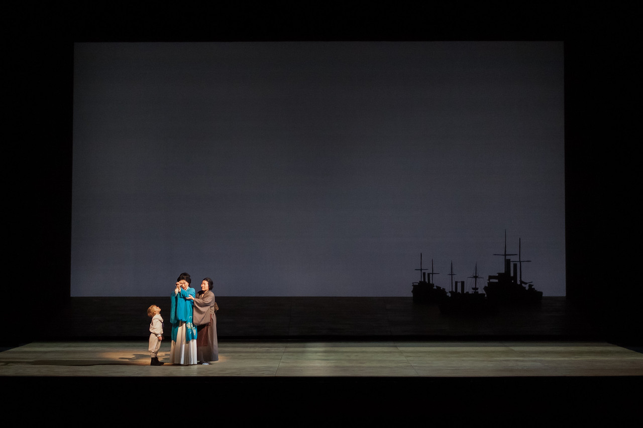 """Louis McKinny as Sorrow, Yunah Lee as Cio-Cio-San and Kristen Choi as Suzuki in The Glimmerglass Festival's 2014 production of """"Madame Butterfly."""" Photo: Jessica Kray/The Glimmerglass Festival."""