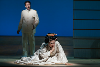 """Dinyar Vania as Lieutenant B.F. Pinkerton and Yunah Lee as Cio-Cio-San in The Glimmerglass Festival's 2014 production of """"Madame Butterfly."""" Photo: Karli Cadel/The Glimmerglass Festival."""