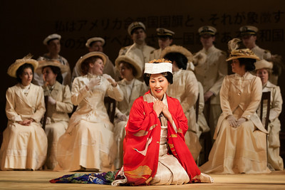 """Yunah Lee as Cio-Cio-San with members of the ensemble in The Glimmerglass Festival's 2014 production of Puccini's """"Madame Butterfly."""" Photo: Karli Cadel/The Glimmerglass Festival."""