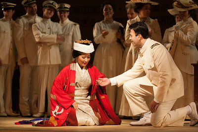 """Yunah Lee as Cio-Cio-San and Dinyar Vania as Lieutenant B.F. Pinkerton in The Glimmerglass Festival's 2014 production of Puccini's """"Madame Butterfly."""" Photo: Karli Cadel/The Glimmerglass Festival."""