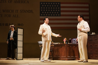 """L to R: Ian McEuen as Goro, Dinyar Vania as Lieutenant B.F. Pinkerton and Aleksey Bogdanov as Sharpless in The Glimmerglass Festival's 2014 production of Puccini's """"Madame Butterfly."""" Photo: Karli Cadel/The Glimmerglass Festival."""