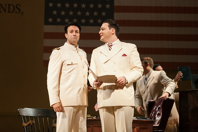 """L to R: Dinyar Vania as Lieutenant B.F. Pinkerton and Aleksey Bogdanov as Sharpless in The Glimmerglass Festival's 2014 production of """"Madame Butterfly."""" Photo: Karli Cadel/The Glimmerglass Festival."""