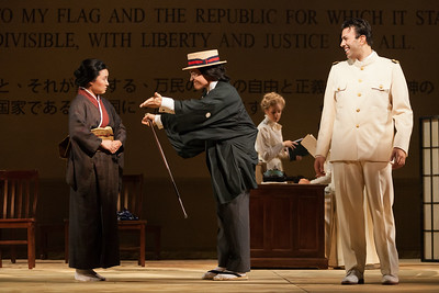 """L to R; Kristen Choi as Suzuki, Ian McEuen as Goro and Dinyar Vania as Lieutenant B.F. Pinkerton in The Glimmerglass Festival's 2014 production of """"Madame Butterfly."""" Photo: Karli Cadel/The Glimmerglass Festival."""