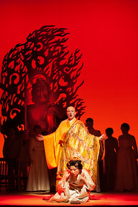 """Thomas Richards as The Bonze and Yunah Lee as Cio-Cio-San in The Glimmerglass Festival's 2014 production of """"Madame Butterfly."""" Photo: Karli Cadel/The Glimmerglass Festival."""