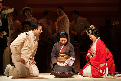 """L to R: DInyar Vania as Lieutenant B.F. Pinkerton, Kristen Choi as Suzuki and Yunah Lee as Cio-CIo-San in The Glimmerglass Festival's 2014 production of Puccini's """"Madame Butterfly."""" Photo: Karli Cadel/The Glimmerglass Festival."""