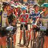 Katja Freeman, Durango, and Kelsay Lundberg, Salida line up at the start.