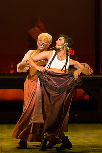 "Marietta Simpson as The Old Lady and ensemble member Giovanni Da Silva in The Glimmerglass Festival's 2015 production of Bernstein's ""Candide."" Photo: Karli Cadel/The Glimmerglass Festival."