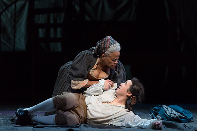 "Marietta Simpson as The Old Lady and Andrew Stenson as Candide in The Glimmerglass Festival's 2015 production of Bernstein's ""Candide."" Photo: Karli Cadel/The Glimmerglass Festival."